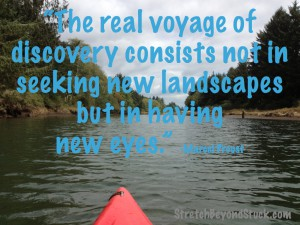 Photo of kayak on river plus quote