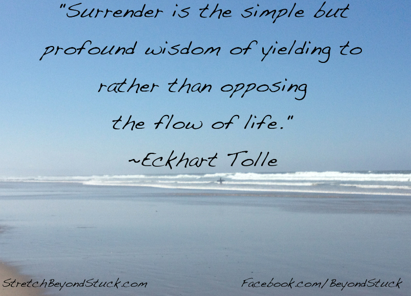 Photo of beach and Eckhart Tolle quote